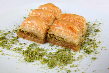 turkish dessert: Delicious turkish dessert Baklava with pistachio