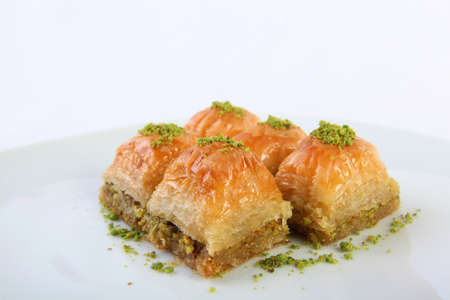 sweet course: Delicious turkish dessert Baklava with pistachio