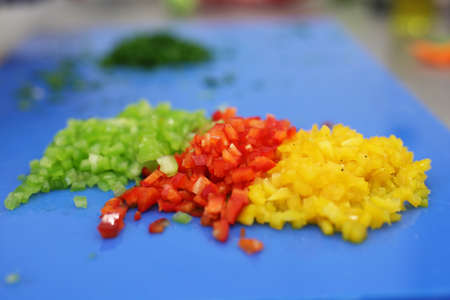 cubic: Green red and yellow pepper cubic cutted Stock Photo