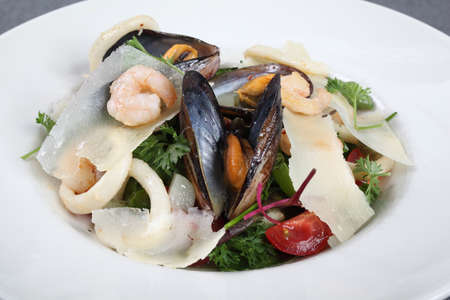 italian sea: A fresh Italian sea salad with mussels and squids