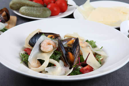 A fresh Italian sea salad with mussels and squids