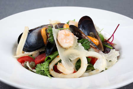 squids: A fresh Italian sea salad with mussels and squids