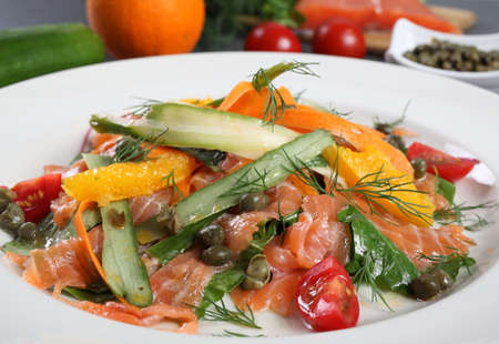 ambient: An healthy salmon salad dish served in ambient light