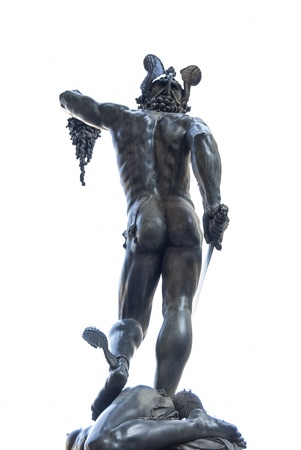 The statue of Perseus holding the severed head of Medusa is exhibited in Piazza della Signoria in Florence  photo