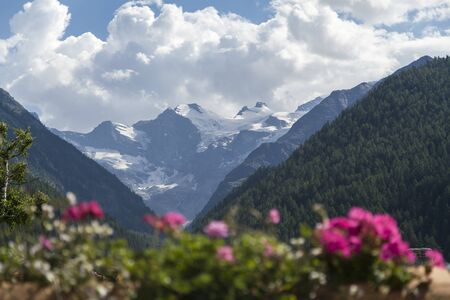 massif: View of the Gran Paradiso massif with the final part of the glacier of the Tribolazione  Stock Photo