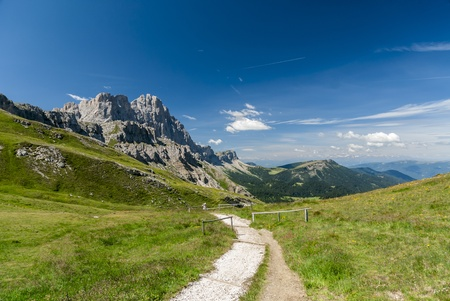 odle: In the Dolomites group Odle di Eores and Odle di Funes Stock Photo