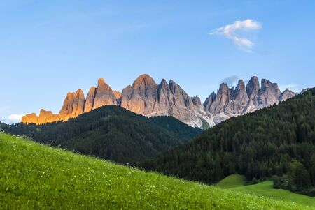 In the Dolomites group Odle di Eores and Odle di Funes  Archivio Fotografico
