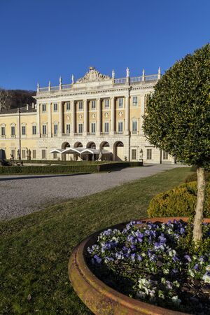 destined: The central part, neoclassical, was designed by Simone Cantoni in the late eighteenth century  After having passed through several owners, the villa now belongs to the town of Como, after restoration, has destined to house cultural events  The beautiful p