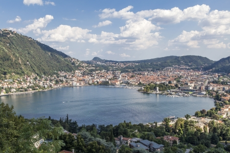 Como  city panorama view from the lake Archivio Fotografico
