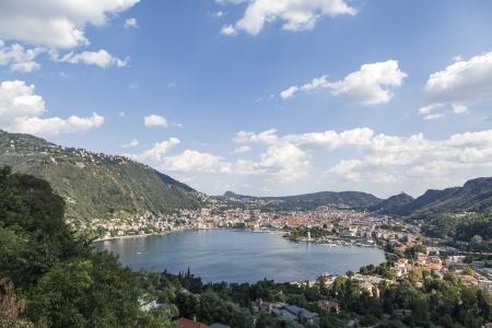 como: Como  city panorama view from the lake Stock Photo