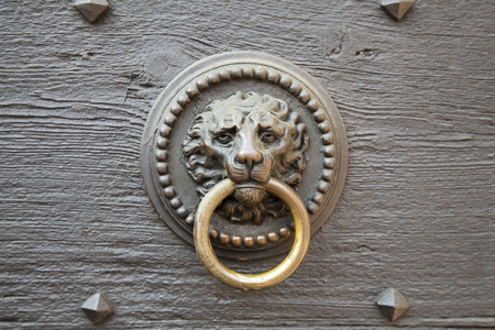 Door knocker in the shape of a lion on old wood door photo