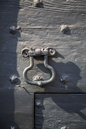 Old door with decorative nails  photo