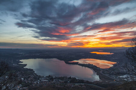 From the top of Mount Barro  Lombardy  in the clear winter evenings you can admire spectacular sunsets reflected on the lakes of the plains Archivio Fotografico