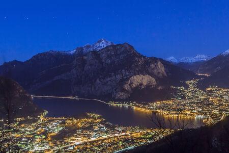 Night view of Lecco city on Lake Como