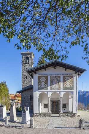 proclaimed: The church of Madonna del Ghisallo  in Magreglio, Italy  Pope Pius XII proclaimed the church to be the universal patroness of cyclists  Stock Photo