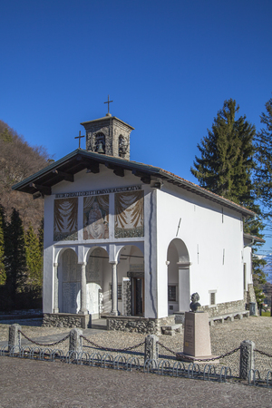 pius: The church of Madonna del Ghisallo  in Magreglio, Italy  Pope Pius XII proclaimed the church to be the universal patroness of cyclists  Stock Photo