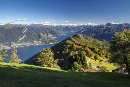 Panoramic view of Lake Como from the mountains above Bellagio