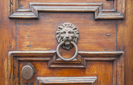 door handle: Italian door knocker: lion Stock Photo