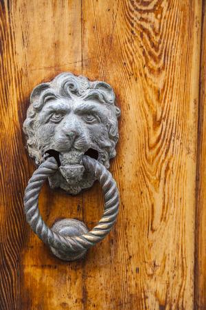 furniture part: Italian door knocker in the shape of a lions head