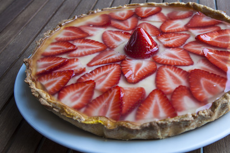 designates: Strawberry tart Stock Photo