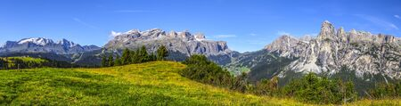 Dolomites: panorama from Marmolada glacier to Sassongher