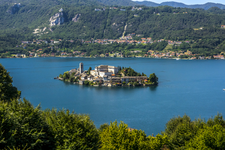 orta: Overview of Lake Orta with the island of San Giulio