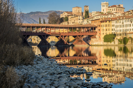 ponte vecchio: Ponte Vecchio of Bassano del Grappa Stock Photo