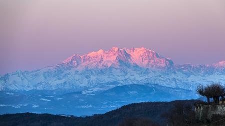 Monte Rosa lit by the morning sun Archivio Fotografico