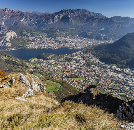 Panoramic view of Lecco city Stockfoto