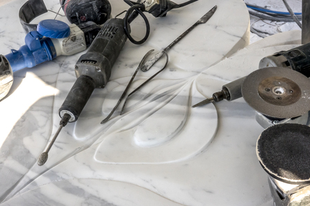 Tools for finishing marble sculptures