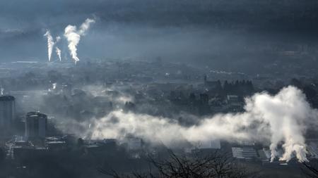 Smoke from industry in winter