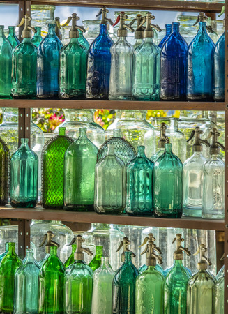 Background of colored bottles