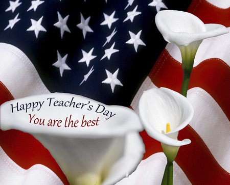 Happy Teachers Day - First Day of School with usa flad and calle flowers Stock Photo