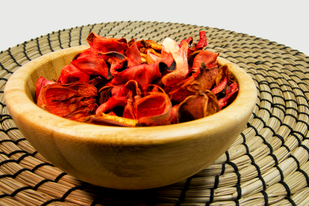 potpourri: Potpourri of dry flowers in a wooden bowl. For aromatherapy and welness concept
