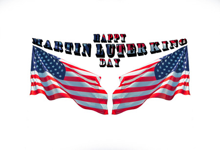 Happy Martin Luther King jr. day with two american flags used as background. USA liberty festival concept