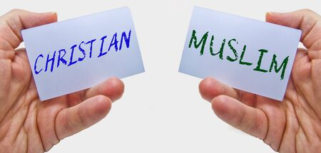 christian and muslim. cultural crisis in the world between the two main monotheist religions Stock Photo