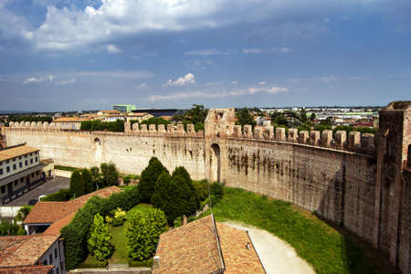 The fortified walls of the historical town of Cittadella, Italy. Border protection concept