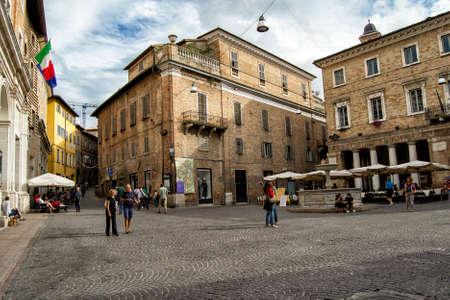 15/09/13, Urbino, Italy - People walking across a square in Urbino, Italyi Editorial