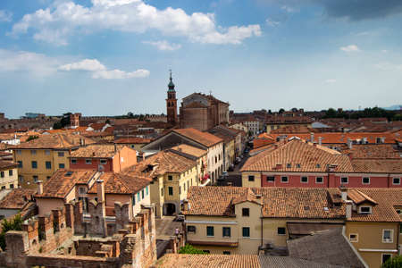 aereal view of the town of Cittadella, Italy. fortified town. Italian tourism concept Imagens