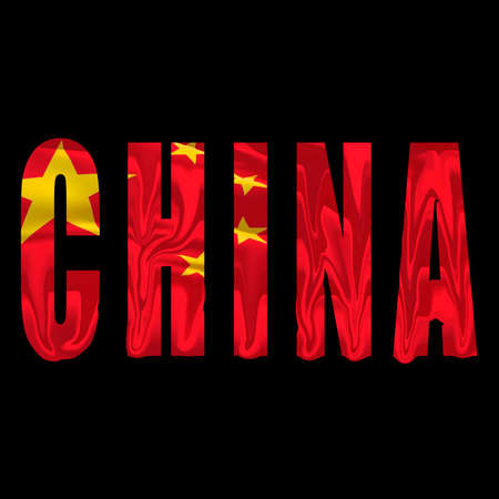 word CHINA and chinese flag on bacground, concept for political crisis, repression of human rights, lack of freedom