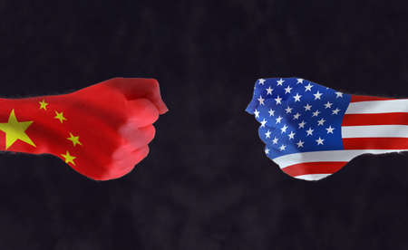 China and USA words, national flags with a nuclear explosion on the background. concept for usa - china political and economic crisis