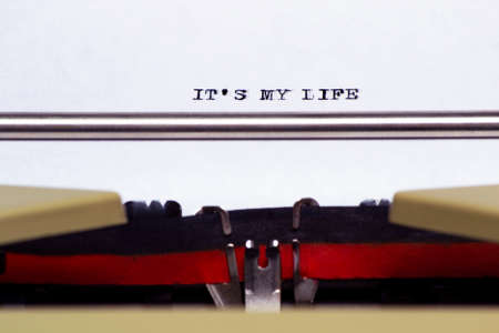 it's my life concept written by an old typewriter on white paper Imagens
