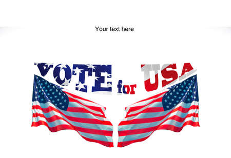 vote for USA with two american flags and copyspece for your advice