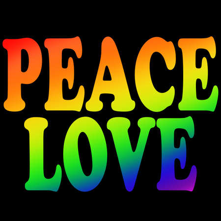 peace & Love phrase with rainbow colors. Concept for  pride and tolerance