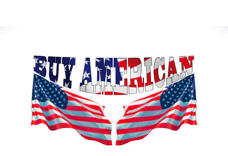 buy american words with two usa flags, Concept for buying american products