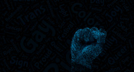 fist designed with words. concept for lgbq protest agains discrimination Imagens