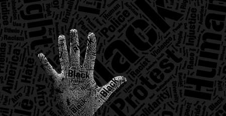 open hand palm with words inside. concept for human right, agains racism, black people discrimination