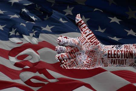illustration for presidential election 2020: thumb up and usa flag. Concept for USA presidential election 2020, patriotism,