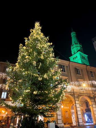 11/28/20, Modena- Italy. christmas tree decorations. Lights, christmas balls and decorations Editorial