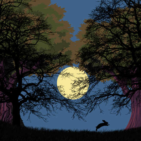 Illustration. rabbit jumping, forest and grass and moon Imagens